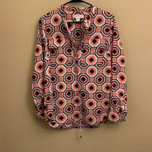 Michael Kors geometric tie waist blouse